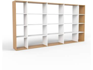 Wohnwand Weiß - Individuelle Designer-Regalwand: Hochwertige Qualität, einzigartiges Design - 303 x 157 x 35 cm, Konfigurator