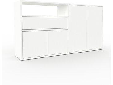 Rollcontainer Weiß - Rollcontainer: Schubladen in Weiß & Türen in Weiß - 152 x 80 x 35 cm, konfigurierbar