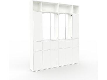 Vitrine Weiß - Moderne Glasvitrine: Türen in Weiß - Hochwertige Materialien - 229 x 272 x 35 cm, Selbst zusammenstellen