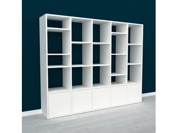 Wohnwand Weiß - Individuelle Designer-Regalwand: Türen in Weiß - Hochwertige Materialien - 195 x 157 x 35 cm, Konfigurator