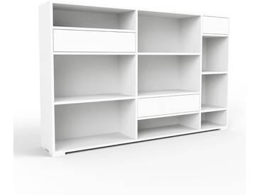 Bücherregal Weiß - Modernes Regal für Bücher: Schubladen in Weiß - 190 x 120 x 35 cm, Individuell konfigurierbar