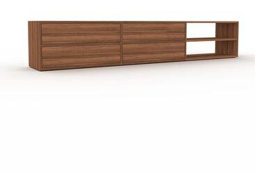 Lowboard Nussbaum - Designer-TV-Board: Schubladen in Nussbaum - Hochwertige Materialien - 226 x 41 x 35 cm, Komplett anpassbar