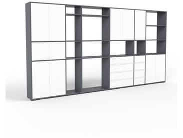 Aktenregal Anthrazit - Büroregal: Schubladen in Weiß & Türen in Weiß - Hochwertige Materialien - 378 x 196 x 35 cm, konfigurierbar