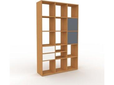 Regalsystem Eiche - Regalsystem: Schubladen in Weiß & Türen in Anthrazit - Hochwertige Materialien - 118 x 195 x 35 cm, konfigurierbar