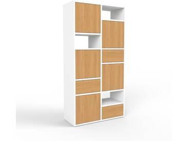 Regalsystem Weiß - Regalsystem: Schubladen in Eiche & Türen in Eiche - Hochwertige Materialien - 79 x 157 x 35 cm, konfigurierbar