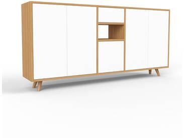 Sideboard Eiche - Sideboard: Schubladen in Weiß & Türen in Weiß - Hochwertige Materialien - 190 x 91 x 35 cm, konfigurierbar
