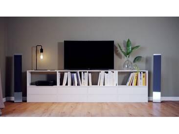 TV-Schrank Weiß - Moderner Fernsehschrank: Schubladen in Weiß - 301 x 80 x 35 cm, konfigurierbar