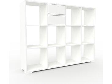 Schallplattenregal Weiß - Modernes Regal für Schallplatten: Schubladen in Weiß - 156 x 120 x 35 cm, Selbst designen