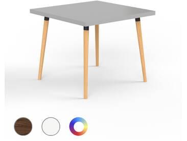 Designer Esstisch Massivholz Grau - Individueller Designer-Massivholztisch: Einzigartiges Design - 90 x 75 x 90 cm, Modular