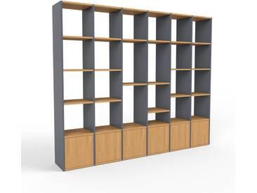 Regalsystem Anthrazit - Flexibles Regalsystem: Türen in Eiche - Hochwertige Materialien - 233 x 195 x 35 cm, Komplett anpassbar