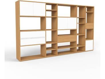 Bücherregal Eiche - Modernes Regal für Bücher: Schubladen in Weiß & Türen in Weiß - 267 x 157 x 35 cm, konfigurierbar