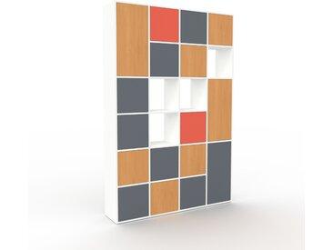 Schrankwand Weiß - Moderne Wohnwand: Türen in Anthrazit - Hochwertige Materialien - 156 x 233 x 35 cm, Konfigurator
