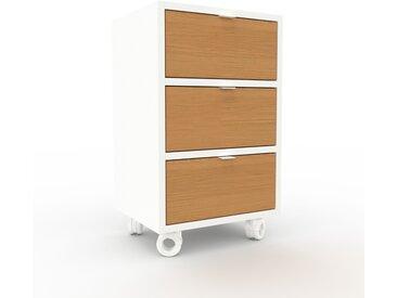 Rollcontainer Weiß - Moderner Rollcontainer: Schubladen in Eiche - 41 x 68 x 35 cm, konfigurierbar