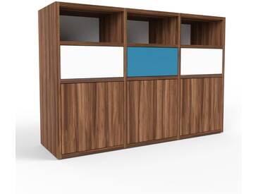 Sideboard Nussbaum - Sideboard: Schubladen in Weiß & Türen in Nussbaum - Hochwertige Materialien - 118 x 80 x 35 cm, konfigurierbar