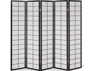 Paravent Japan Traditional Schwarz 5 teilig
