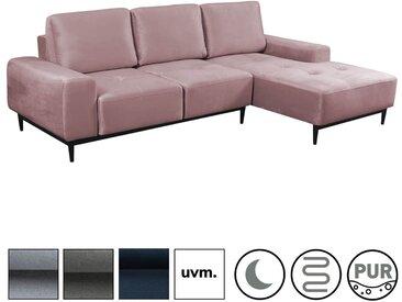 Ecksofa 'Die Leichtfüßige', modernes 3-Sitzer Sofa & Ecksofa mit Schlaffunktion, Velouroptik in Altrosa -63