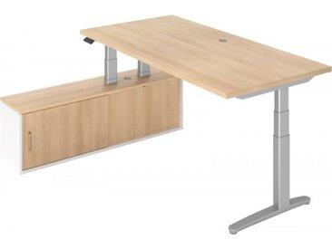 e-Schreibtisch Kombi Eiche/Weiß/Silber