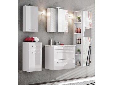 Twist Badmöbel-Set / Komplettbad 6-teilig in Weiß, Waschtisch 60 cm, LED-Beleuchtung
