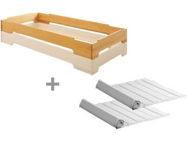 2er Set Kai Stapelbett mit Roll-Lattenrosten 90x200 cm, Erle und weiß lasiert