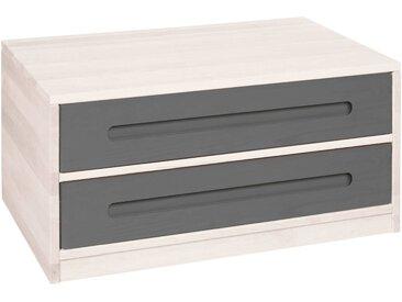 Lina Bettkommode mit 2 Schubladen, Kiefer weiß lasiert 80 cm