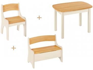 Spar-Set: Levin Kindersitzgruppe komplett, Tisch, Bank, Stuhl, Erle und weiß lasiert