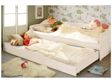Komplett-Set Nico Schlafsofa mit Matratzen-Bettkasten und 2 Lattenrosten 90x200 cm Kiefer weiß lasiert