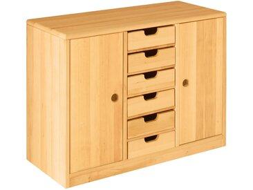 Set Robin Ordnungsregal breit mit Türen und Schubladen Höhe 64 cm, Breite 86 cm, Erle