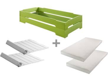 2er SET Kai Stapelbett 90x200 cm, Kiefer grün mit Roll-Lattenrosten und bionik Matratzen