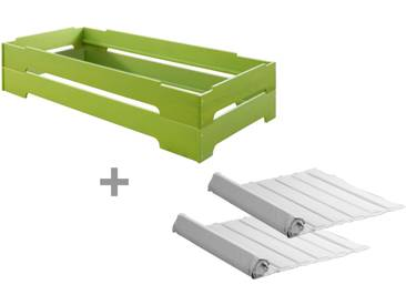2er Set Kai Stapelbett mit Roll-Lattenrosten 90x200 cm, Kiefer grün