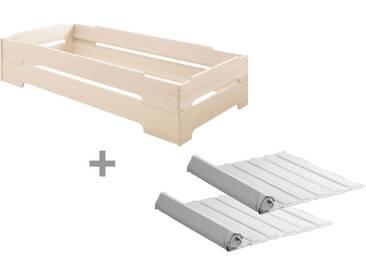 2er Set Kai Stapelbett mit Roll-Lattenrosten 90x200 cm, Kiefer weiß