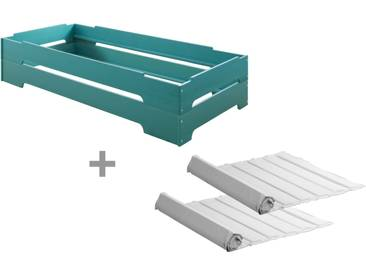 2er Set Kai Stapelbett mit Roll-Lattenrosten 90x200 cm, Kiefer blau