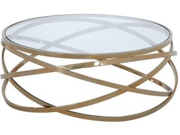 Circun - Couchtisch rund gold Klarglasplatte