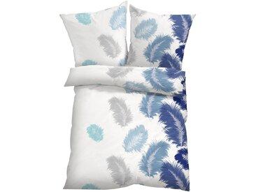 Bettwäsche Feder in blau