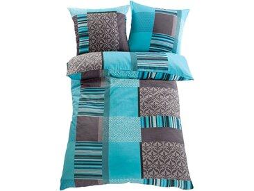 Bettwäsche mit Karos in blau