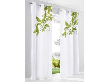 Bio Baumwoll Vorhang mit Blätter Druck (1er Pack) in weiß