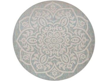 Runder In- und Outdoor Teppich mit großem Ornament in beige