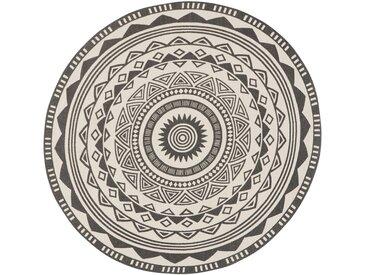 Runder Teppich Tiko, in grau