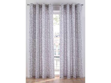 Vorhang mit Blätter Druck (1er Pack) grau