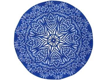 Runder Teppich mit Wendeoptik blau bonprix