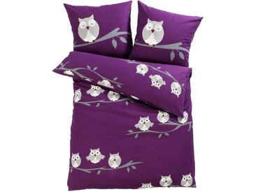 Bettwäsche mit Eulen lila bonprix