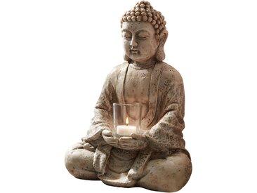 Deko-Buddha mit Windlicht in grau