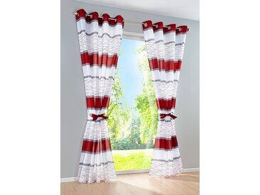 Vorhang mit Querstreifen Druck (2-tlg.Set) in rot