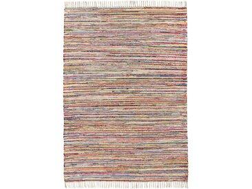 Kelim-Teppich in melierter Handweboptik in beige