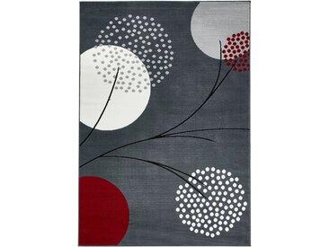 Teppich mit stilisierten Blüten in grau