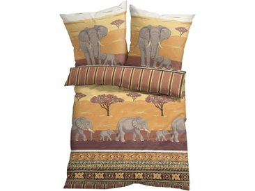 Bettwäsche mit Elefanten in beige