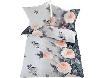 Bettwäsche mit Blumen Design in orange