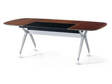 Interstuhl Silver 890S Cheftisch, Bootsform, klein mit Ledereinlage