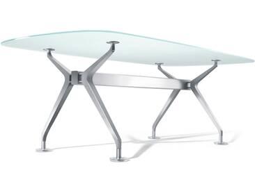 Interstuhl Silver 893S Konferenztisch, Bootsform, groß, mit Medienleiste