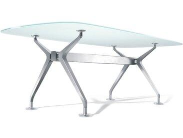 Interstuhl Silver 892S Konferenztisch, Bootsform, mittel, mit Medienleiste