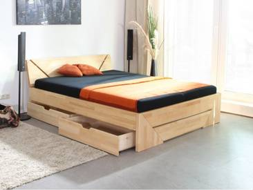 Massivholzbett Venedig Fußteilvariante 1, Schubladen ST, Esche